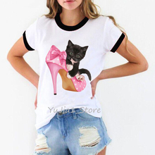 Black cat in the pink high heels print harajuku kawaii t shirt women funny shirts lover top tee femme white t-shirt