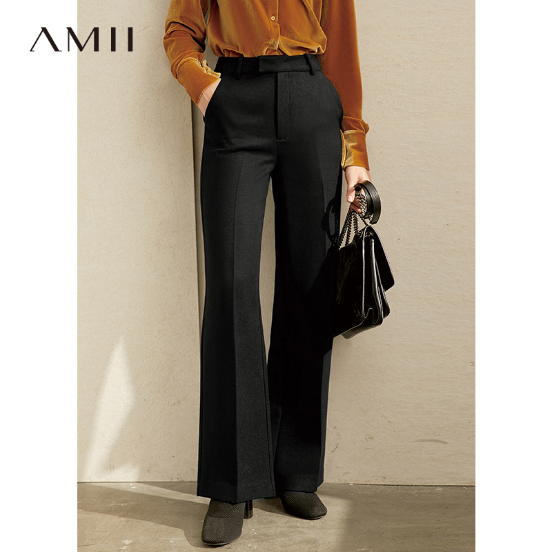 Amii Minimalist Suit Pants Winter Women High Waist Solid Loose Office Lady Casual Pants 11920271