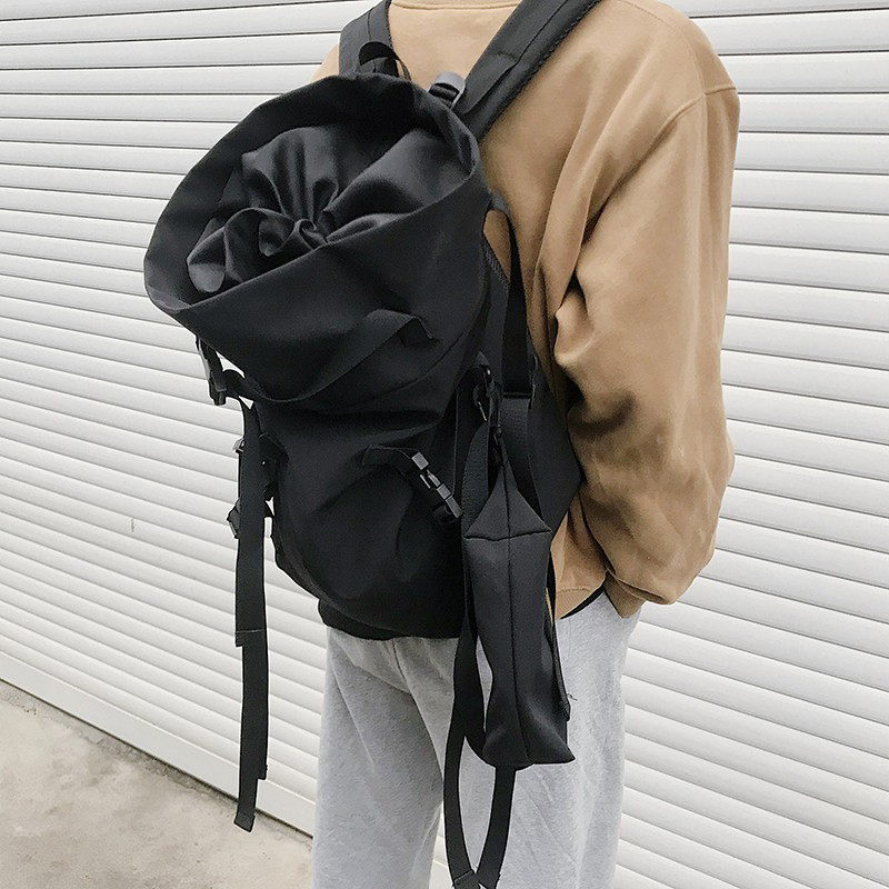 Fashion Personality <font><b>Backpack</b></font> <font><b>Unisex</b></font> Unique Trend <font><b>Backpack</b></font> Couple Youth Street <font><b>Backpack</b></font> Large Capacity Black Suit image