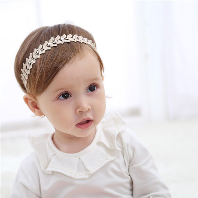 1Pcs Baby Girls Flowers Headbands Hair Accessories New Gold Silk Elastic Hairband Jewlry Baby Cute Simple Hair Bands Jewelry