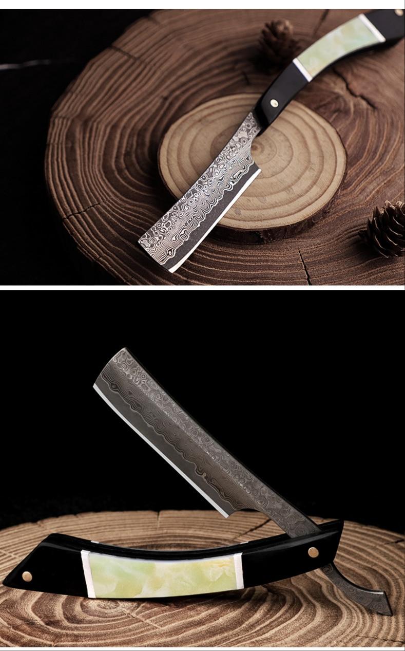 Aço damasco navalha sândalo lidar com aço
