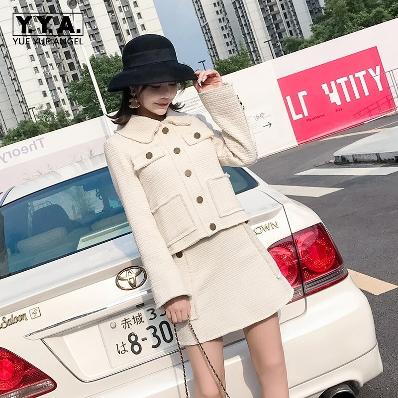 Spring New Women Tweed Jacket 2pcs Sets Wrap Mini Skirt Office Ladies Slim Fit Outfits Suits Beige Twill Coats Two Piece Suit