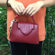 Fashion New Arrival Hot Sales Ostrich Leather Hand Bag Snake