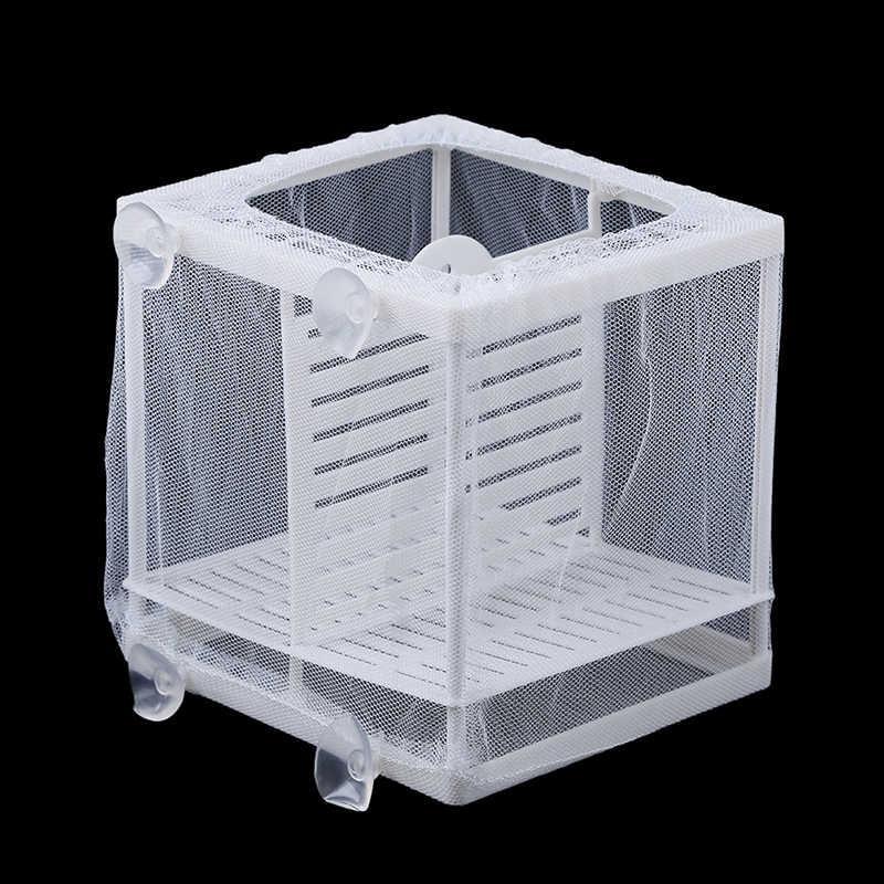 1 مجموعة 16.5x14.5x15 سنتيمتر الأسماك تربية حاضنة صافي شنقا الأسماك التفريخ العزلة مربع لحوض السمك التبعي