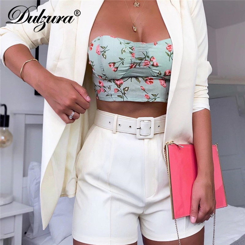 Dulzura 2019 Autumn Winter Women Blazer/shorts Set Two Piece Set Office Suit Plus Size Outfits Jacket Casual Wide Leg Co Ord Set