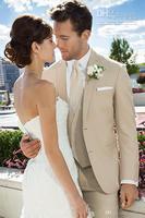 New Custom Made Two Buttons Beige Groom Tuxedos Notch Lapel Best Man Groomsmen Suits Wedding Suits Bridegroom (Jacket+Pants+Vest
