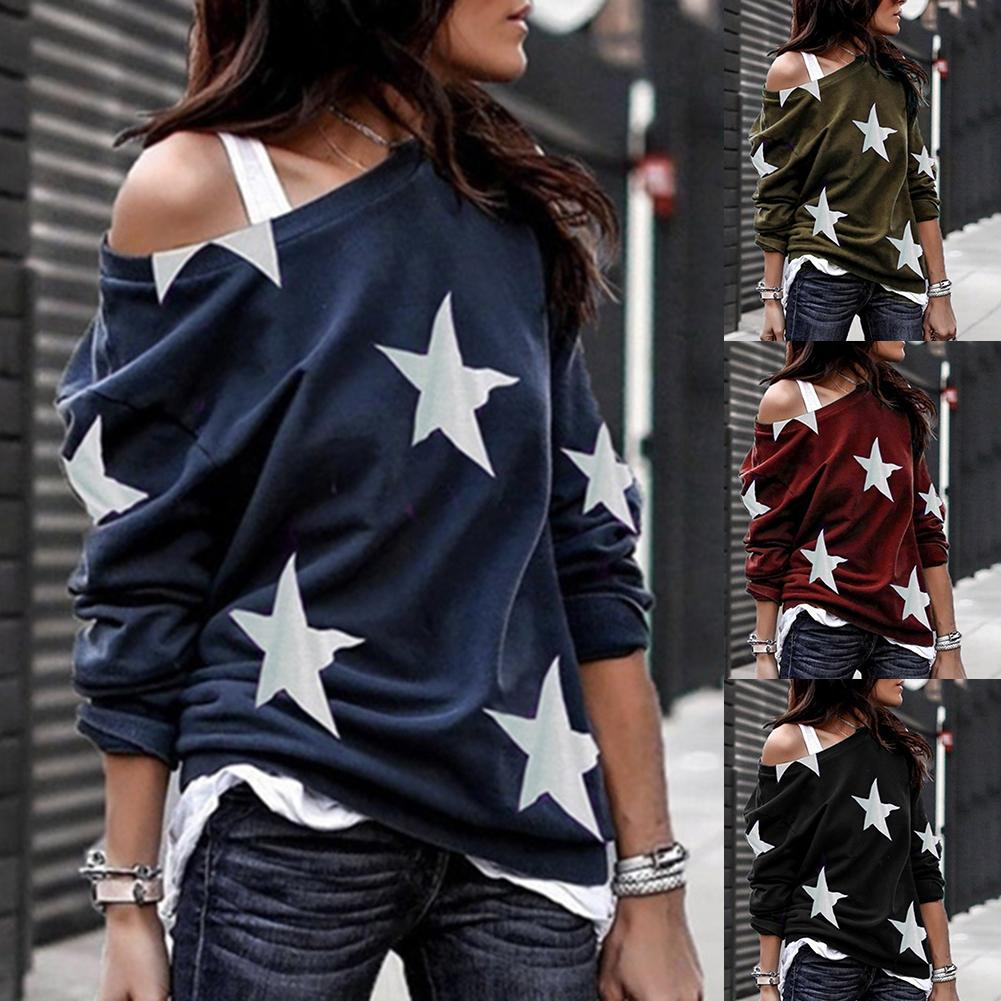Women Casual Loose Star Print Sloping Shoulder Shirt Long Sleeve Sexy  Pullover Top