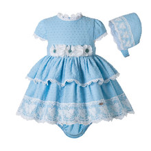 Pettigirl Blue Newborn Baby Girl Outfit Clothes Sets Short Sleeve Dot baby Girl Clothes With PP Pants And Bonnet