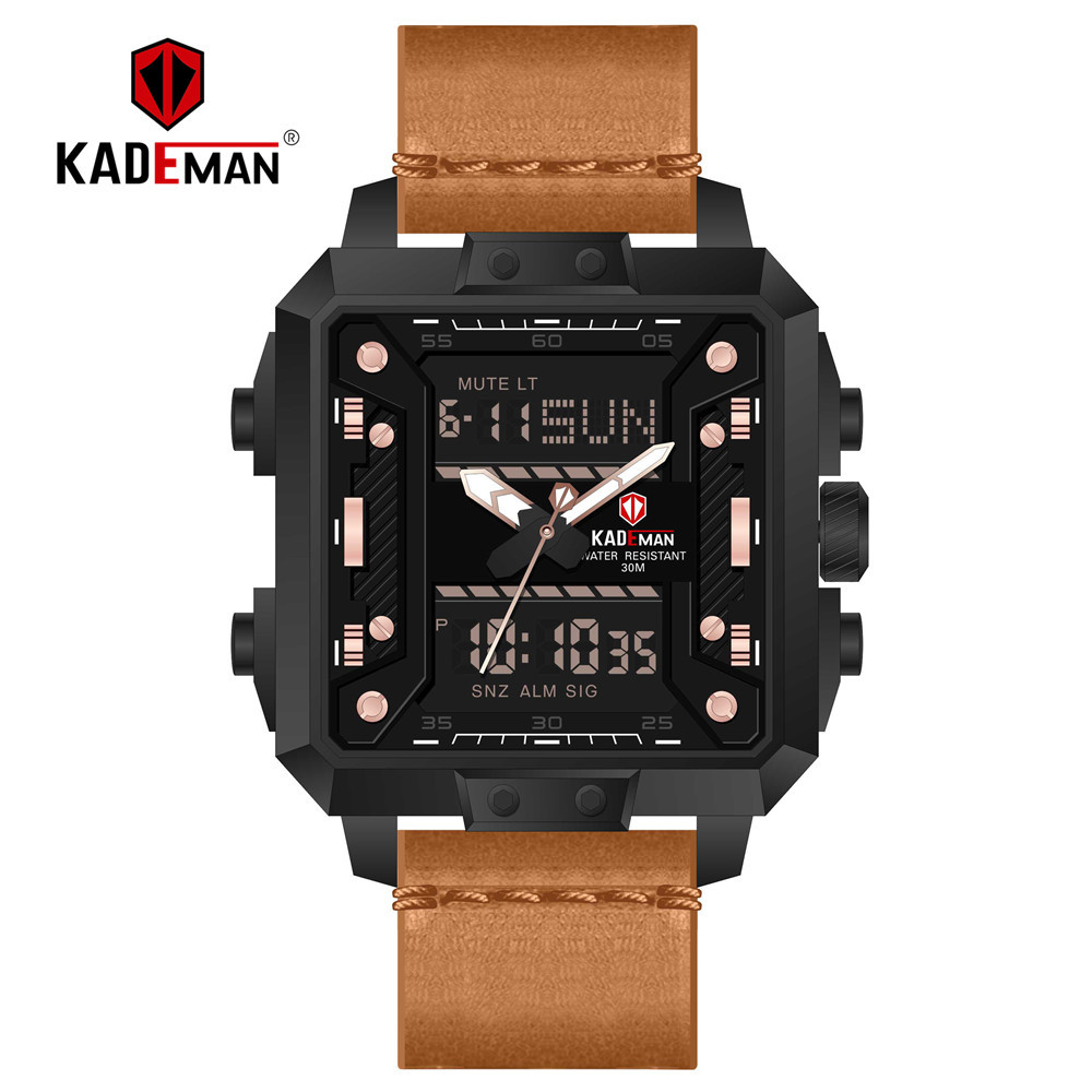 KADEMAN Men Quartz Sports Digital Watches Top Brand Fashion Leather Creative Waterproof Male Wristwatches Relogio Masculino