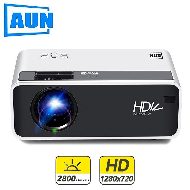 AUN mini projecteur LED D60, résolution 1280x720 P, projecteur vidéo 3D Portable, Home Cinema, Proyector WIFI Android en option D60S