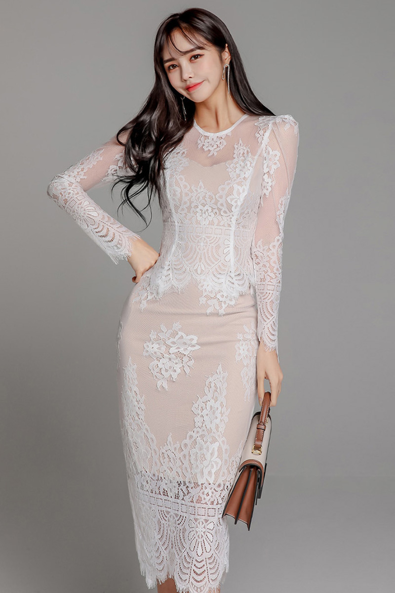 Woman Pencil Dress For Office Bodycon  Vestidos Mid-length Dress Trend 2020 Long Sleeve Lace Sexy  Dresses for party