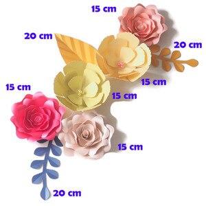 Сделай Сам искусственные цветы фон гигантские бумажные цветы 5 шт. бумажные листья 3 шт. декор для свадебной вечеринки Настенный декор