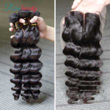 [Rosabeauty] OneCut Hair Loose Wave 8-30inch H Brazilian Human Raw Virgin Unprocessed Hair Natural Color 3 bundles with closure