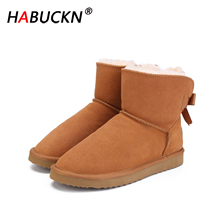 HABUCKN new Fashion able Women Warm Snow Boots Winter Boots Genuine Cowhide Leather Women Boots Ankle Boots Fur Shoes Size 34-44 100% natural fur women boots winter warm shoes genuine sheepskin snow boots warm wool women ankle boots