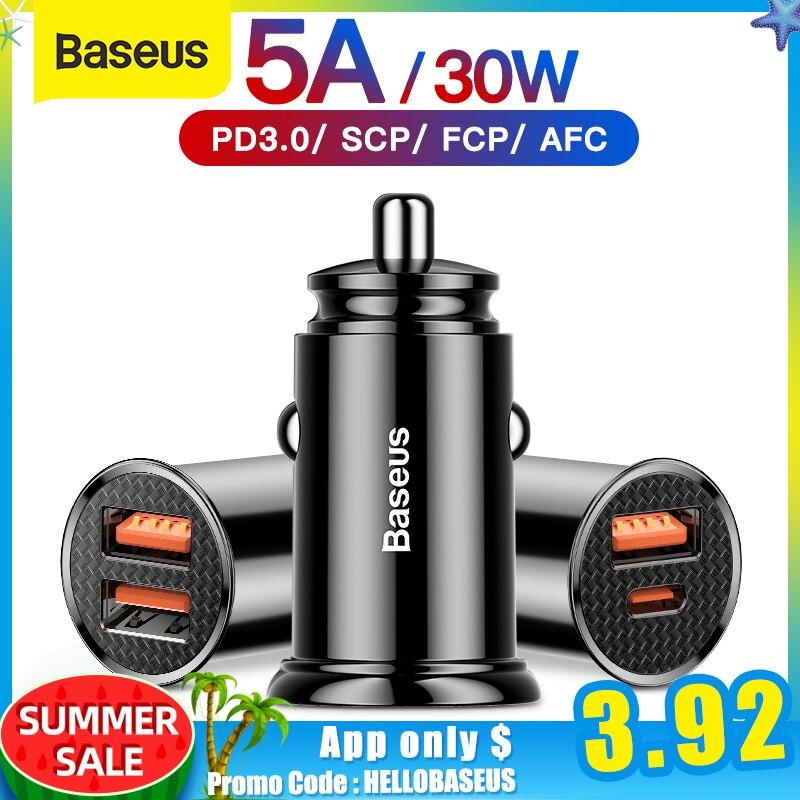 Автомобильное зарядное устройство Baseus 30 Вт Quick Charge 4,0 3,0 USB для Xiao Mi9 Huawei Supercharge SCP QC4.0 QC3.0 Fast PD USB C автомобильное зарядное устройство для телефона|Зарядные устройства|   | АлиЭкспресс