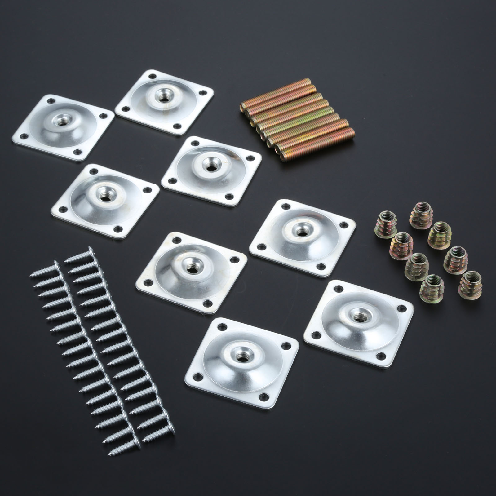 8Pcs Furniture Leg Soft Table Chair Feet Attachment Plates Silver Color Furniture Leg Mounting Plates W/ Bolts Adapters 48x48mm