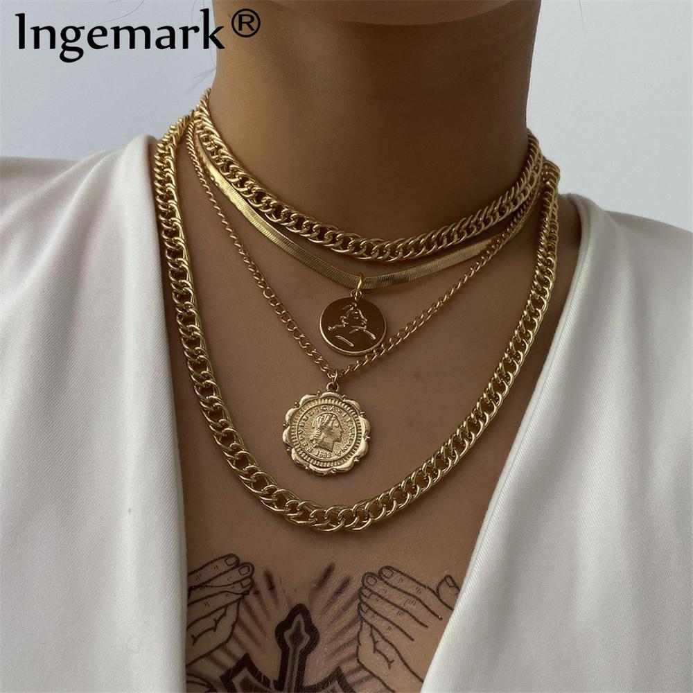 Choker Necklace Jewelry Coin-Pendant Steampunk Chunky-Chain Miami Cuban Vintage Women