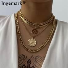 Punk Miami cubain collier ras du cou Steampunk hommes bijoux Vintage grande pièce pendentif chaîne trapue collier pour les femmes cou accessoires