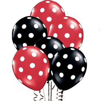 15pcs/lot Red And Black Polka Dot Latex Balloons Mickey Mouse theme birthday globos wedding baby shower party decorations