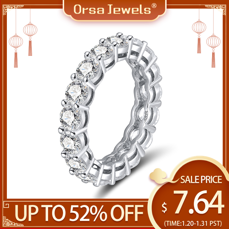 ORSA JEWELS Genuine 925 Full Circle Sapphire Rings Sterling Silver Accessories Silver & Rose Color Shiny Ring Fine Jewelry SR167