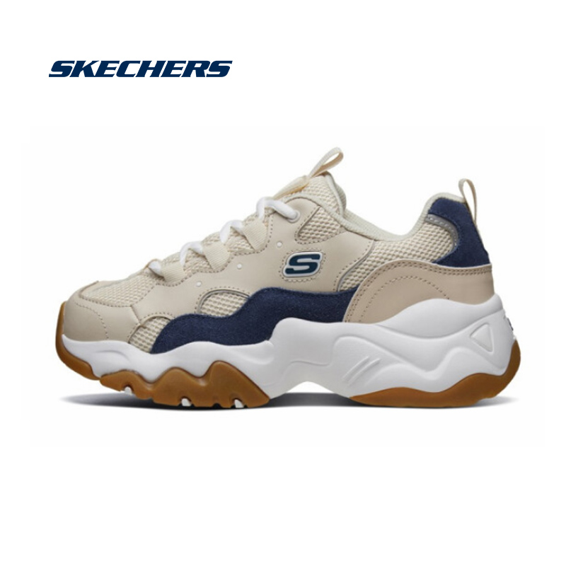 Skechers Shoes Woman D'lite Casual Sneakers Comfortable Breathable Chunky Shoes Women Original Brand Walking Shoes 88888210-TAN