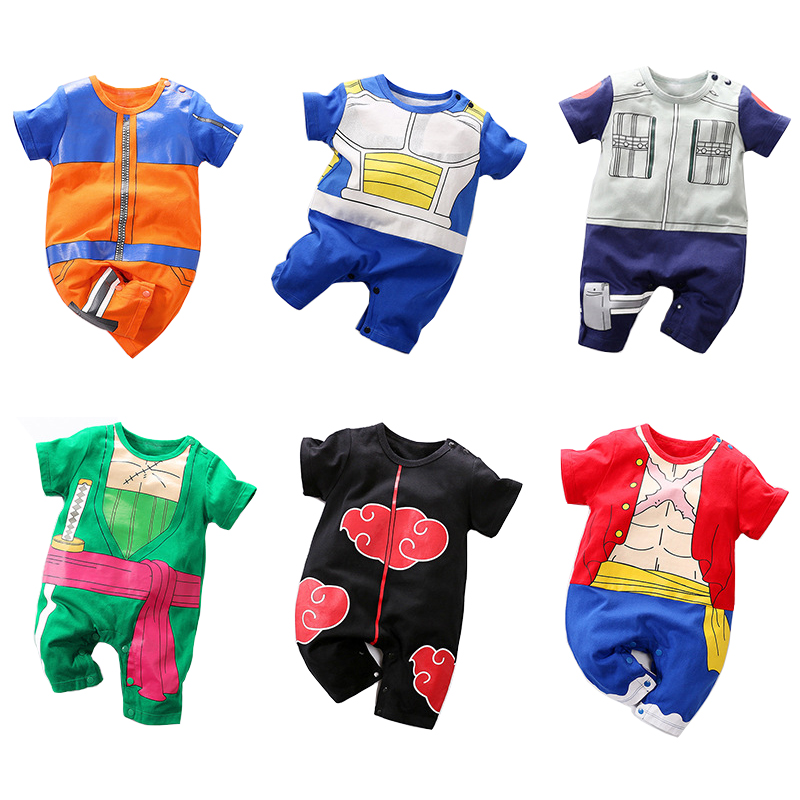 Anime Clothes Summer Newborn Baby Boys Rompers Cotton New Born Boy Romper Short Sleeve Onesie Little Infant Jumpsuits Costume