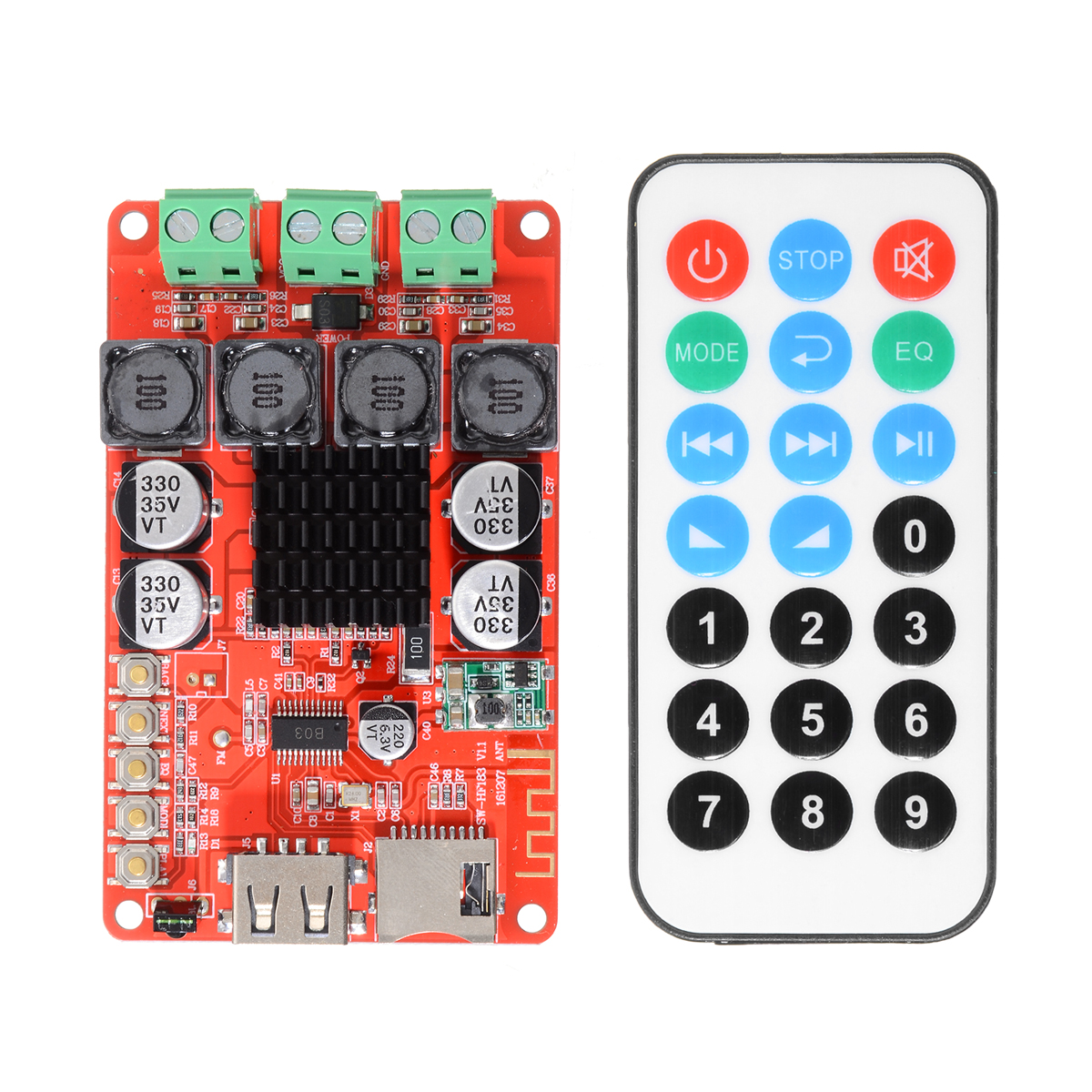 TPA3116 Stereo Speaker Amplifiers 2X50W bluetooth Audio Receiver Amplifier TF Card Decoder With Remote Control-in Amplifier from Consumer Electronics