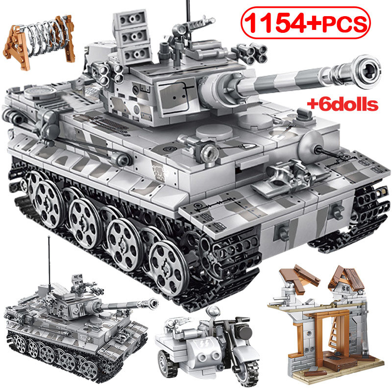 1154pcs Building Blocks WW2 Empires Of Steel Army T-34 Tank Blocks City Diy German Tiger Tank Blocks Technic Blocks Toys