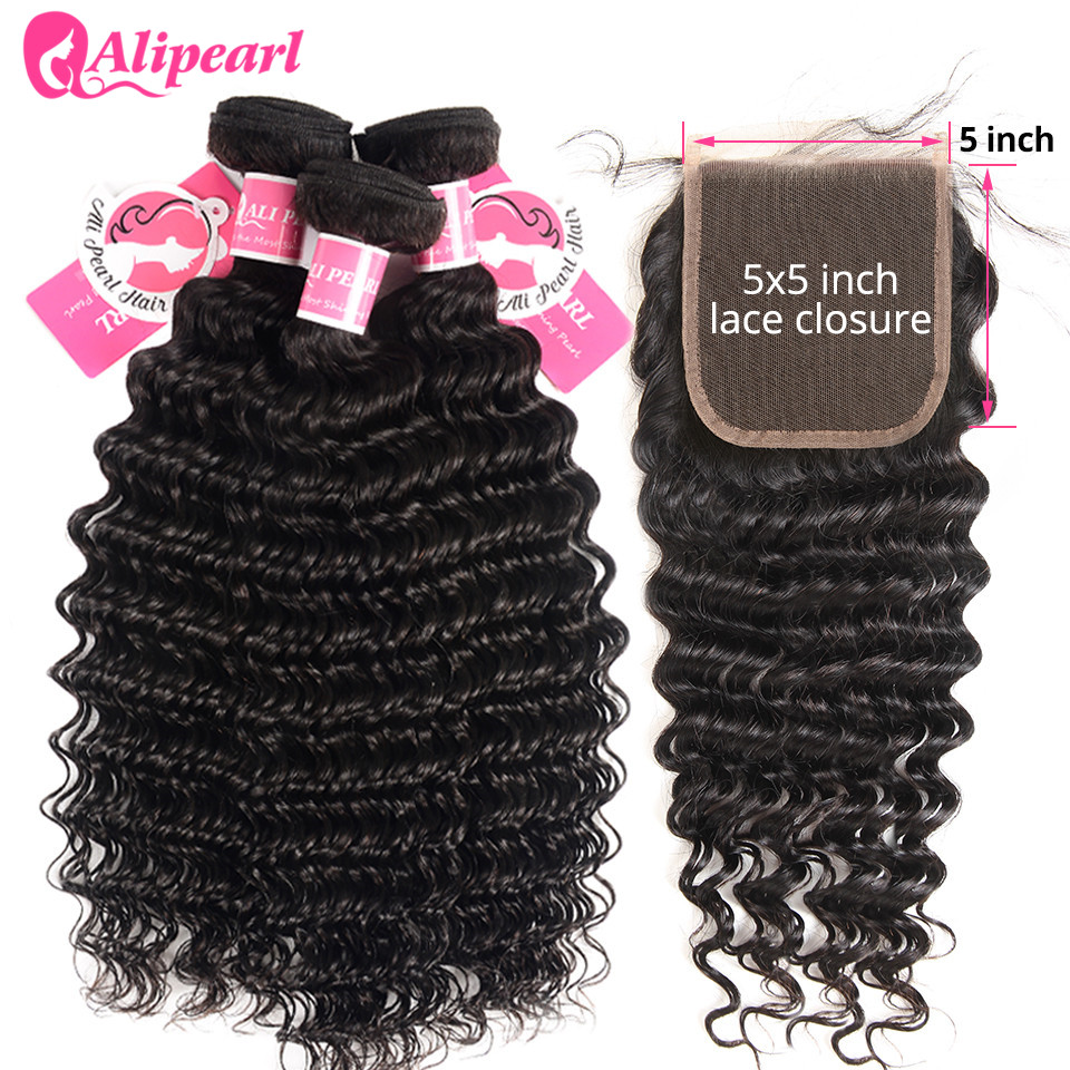 Mèches Deep Wave naturelles Remy avec Closure brésilienne-AliPearl Hair, cheveux 5x5, Extension capillaire, 3 lots