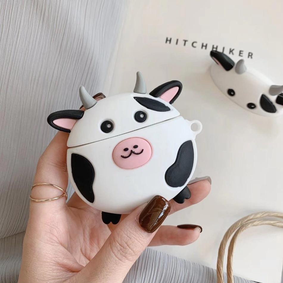 3d Cartoon Cow Earphone Case For Airpods 2 Case Silicone Cute