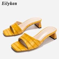 Eilyken Design de mode bout carré doux pantoufles Mules chaussures femmes diapositives concis serpent impression cuir sandales parti talons bas