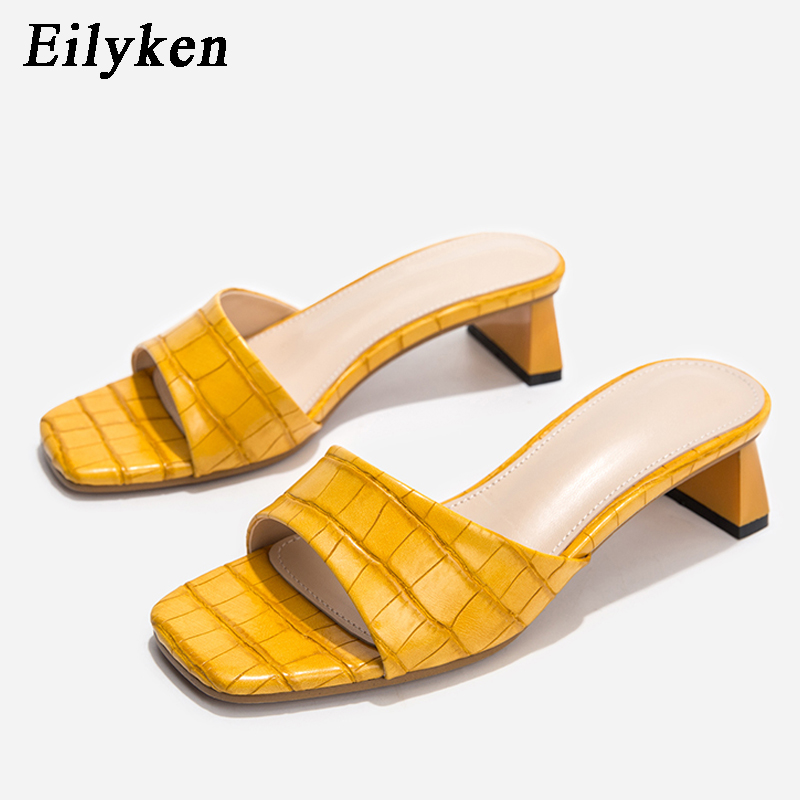 Eilyken Fashion Design Square Toe Soft Slippers Mules Shoes Womens Slides Concise Snake Print Leather Sandals Party Low Heels
