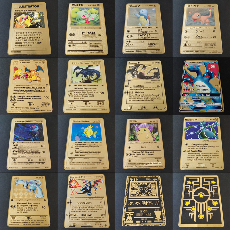HOT Game Anime Battle Pokemon Cards Gold Metal GX EX Card Charizard Pikachu Collection Card Action Figure Model Child Toy Gift