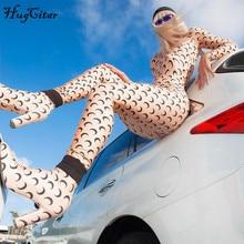 Hugcitar 2019 moon print long sleeve jumpsuit autumn winter women slim bodycon streetwear body outfits