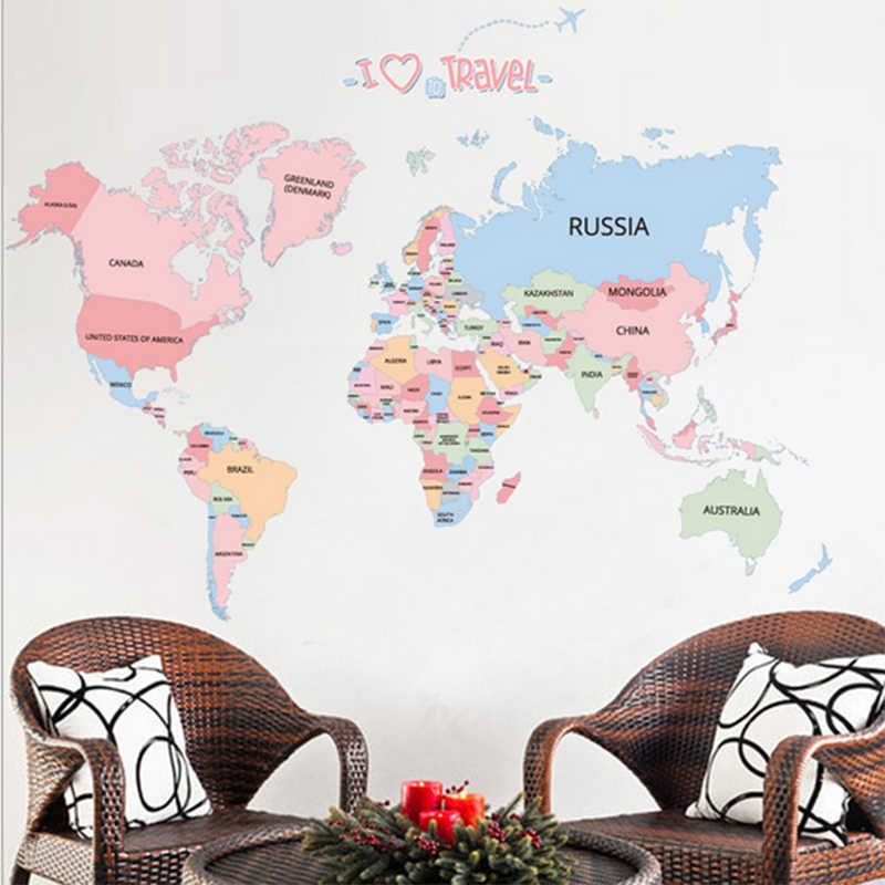 Besar Peta Dunia Stiker Dinding untuk Kamar Tidur Dekorasi Stiker Peta Dunia untuk Anak-anak Pendidikan Peta