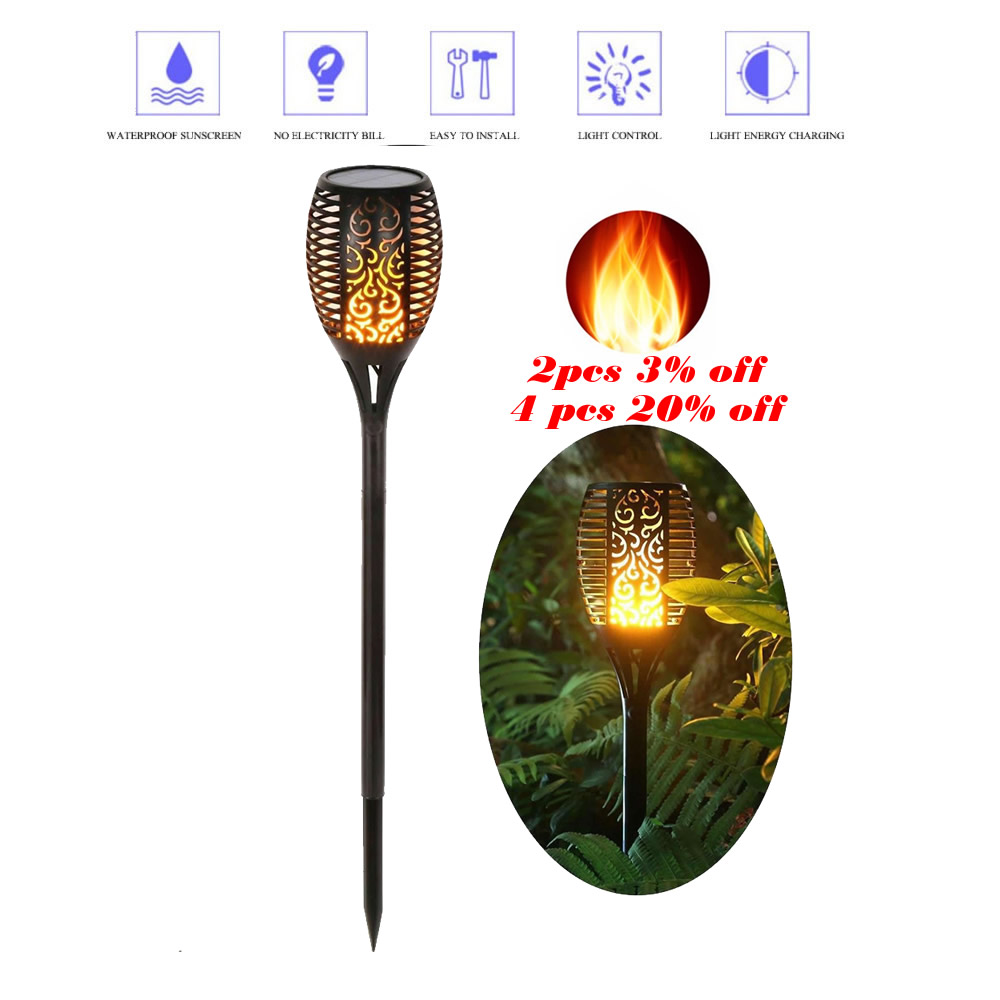 Solar Lawn Dancing Flame Torch Lights Radar Powered LED Flame La Torch Landscape Garden Flame Lamp Flickering Bulb Dancing Lawn