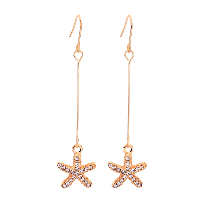 Exquisite Crystal Gold Color Star Drop Earrings For Women Gifts 2019 New Fashion Jewely Ear Hook Wholesale