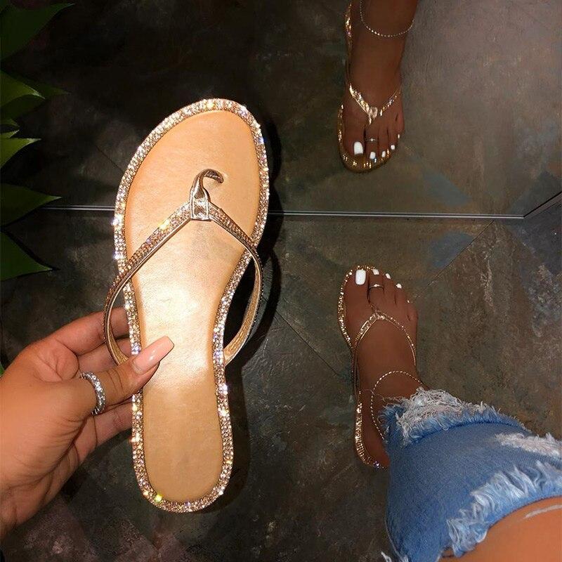 Woman Glitter Flat Flip Flops Woman Pu Leather Casual Fashion Bling Shoes Female  Shining Slippers Lady Shoes Footwear Hot Sale