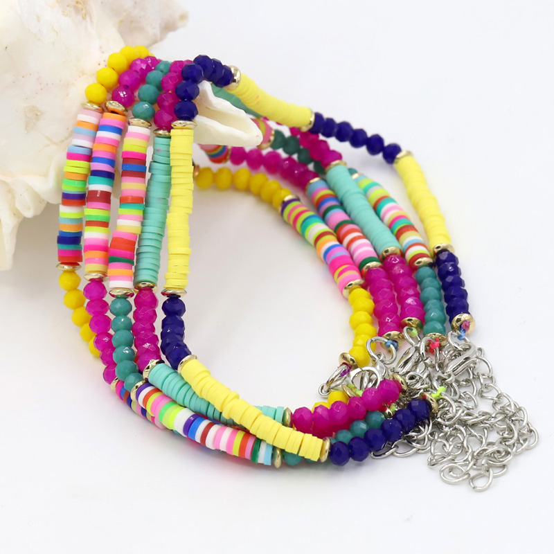 Ankle Bracelets for Women Boho Jewelry Adjustable Colorful Polymer Clay Crystal Bead String Beach Barefoot Anklet