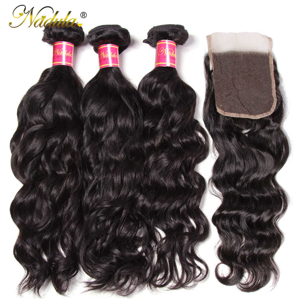 Nadula Hair Malaysian Natural Wave Bundles With Closure 100% Human Hair With 4*4 Lace Closure Free Part Natural Color Remy Hair