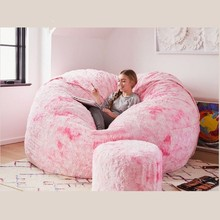 Bean-Bag-Cover Furniture Lazy-Sofa Fluffy Giant Round Living-Room 7ft Big Soft Faux-Fur