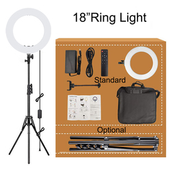 MAMEN 18 inch Selfie Ring Light LED Studio Video Photography Lighting For Youtube Dimmable Ring Lamp With Remote Control Tripod