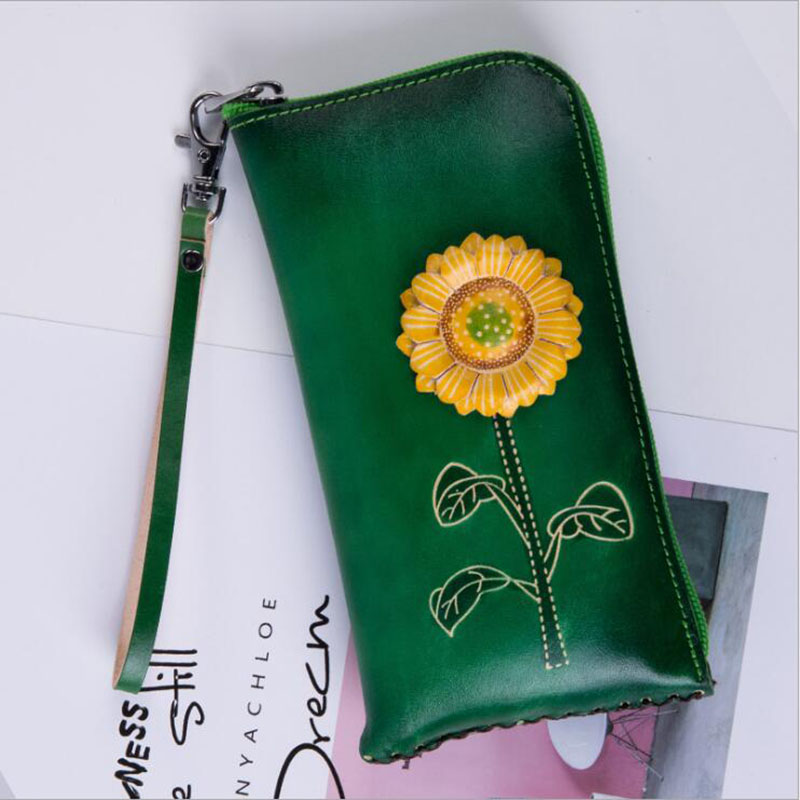 Women Wallets 2019 New Genuine Leather Flowers Girls bags Green Zipper Casual Ladies