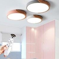 Nordic de madeira moderna conduziu a luz teto lâmpadas com controle remoto para sala estar quarto dos miúdos loft corredor 90 90 260 v