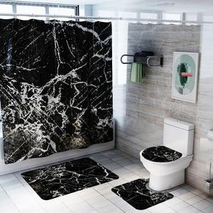 Image 4 - バスマットフック浴室の敷物セット抗床のカーペットシャワー大理石プリントトイレカバーカーペットセット