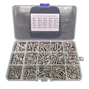 500 Uds M3 M4 M5 tornillos hexagonales Socket Head Socket Bolt Nut Kit 304 tornillos avellanados de acero inoxidable herramientas de montaje