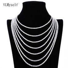 Brass 16-24 inch Tennis Necklace Unisex choker Chain Jewelry Pave setting 3-6mm cubic zirconia stones