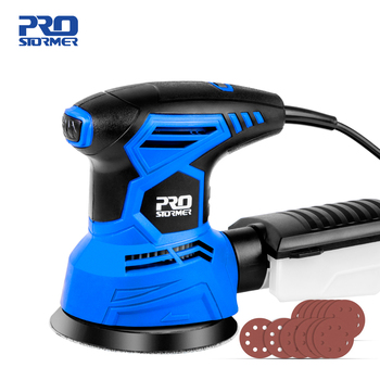 300W Random Orbital Electric Sander Machine with 21Pcs 125mm Sandpapers 120V/240V Strong Dust Collection Polisher by PROSTORMER 1