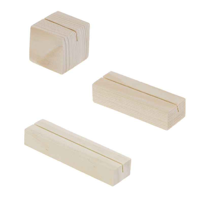 1PC Bevel Natural Wood Memo Clips Photo Holder Clamps Stand Card Desktop Message Crafts #723