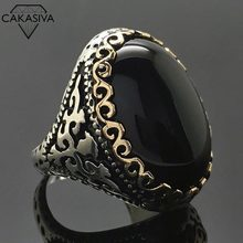 925 Thai Silver Black Gemstone Ring Exaggerated Goose Egg Stone Ring Vintage Jewelry(China)